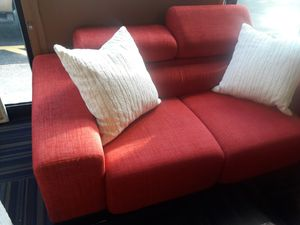 Designer Red Fabric loveseat sofa couch . Very good condition for Sale in Pompano Beach, FL