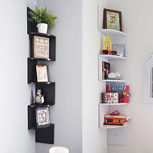 "Brand New $25 each (Black or White) Corner 5-Tiers Wall Mount Zig Zag Wood Shelf Home Furniture 8""x8""x48"" for Sale in Pico Rivera, CA"