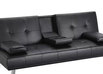 Black Faux Leather Convertible Sofa for Sale in Smyrna,  GA