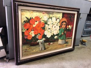 """Original oil painting signed listed artist Abruzzi Harold Stephenson big eyed kid with dog large framed 36x24"""" for Sale in Los Angeles, CA"""