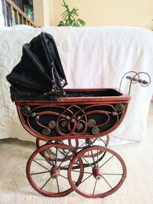 Antique Baby Doll Vintage Wooden Carriage Buggy Doll Buggy for Sale in Darnestown, MD