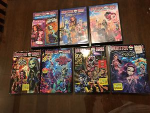 Monster high dvds lot of 7 and Monster high girls hat for Sale in Richmond, VA