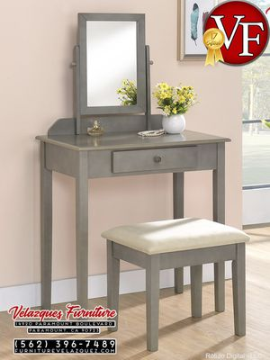 **BRAND NAME** IRIS VANITY GY TABLE+STOOL $115 for Sale in Santa Ana, CA