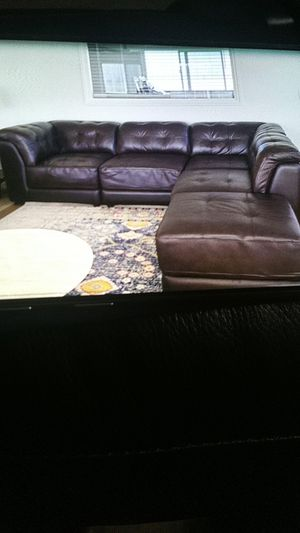 Brown Leather Sectional for Sale in San Diego, CA