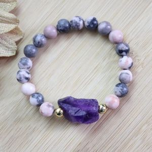 Natural Stones Cham Jewelry 8mm Pink Zebra Jasper Bracelet And Raw Amethyst for Sale in Chicago, IL