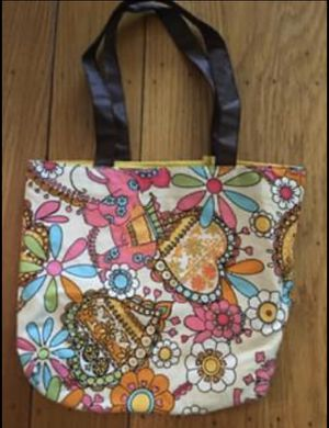 Vintage 70's Retro Print Mini Tote / Toiletries Make Up Bag for Sale in San Leandro, CA