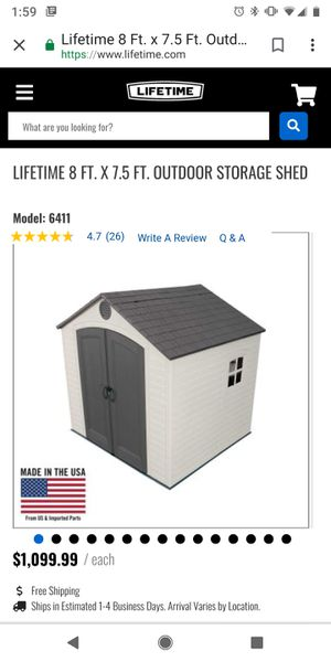 Brand New Storage Shed 8 x 7.5ft for Sale in Peoria, AZ