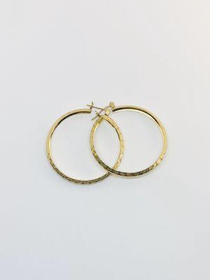 Real 14k Gold Hoop Earrings 40mm Diamond Cut Design New Arracadas de Oro for Sale in Houston, TX