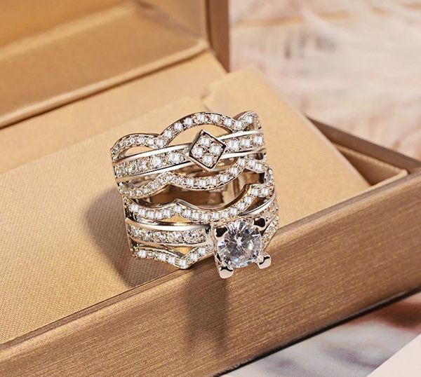 Luxurious Solid 925 Sterling Silver Lab Diamond Wedding Ring Set size 7,8,9