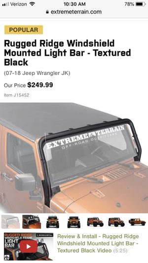 Rugged ridge windshield mount light bar for Sale in Beaumont, CA