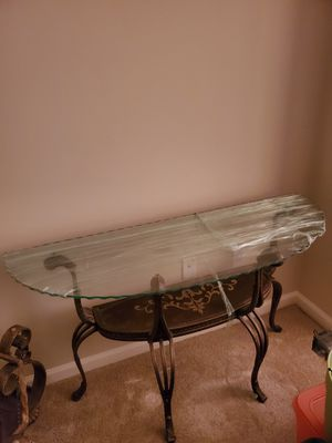 console table with thick beveled edge glass top for Sale in Hyattsville, MD