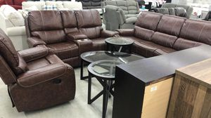 Santiago Top Leather Reclining Exclusive Set 3 Pieces Brown!! for Sale in Houston, TX