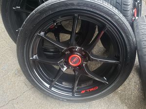 17 inch 4 lug gloss black wheels rims with good tires 205 40 17 very clean for Sale in University Place, WA