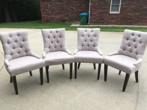 Selling four gray chairs with nail heads for Sale in Concord, NC