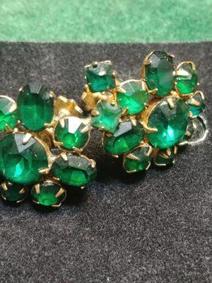 Vintage emerald rhinestone earrings for Sale in PT ORANGE, FL