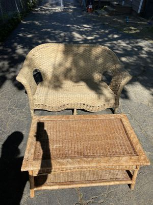 Wicker bench and coffee table for Sale in Garfield Heights, OH