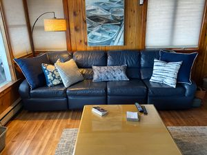 Blue leather sectional couch for Sale in Ashville, NY
