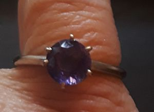 Vintage 14K Real.White Gold & Amethyst Ring Size 8.25 for Sale in Anaheim, CA