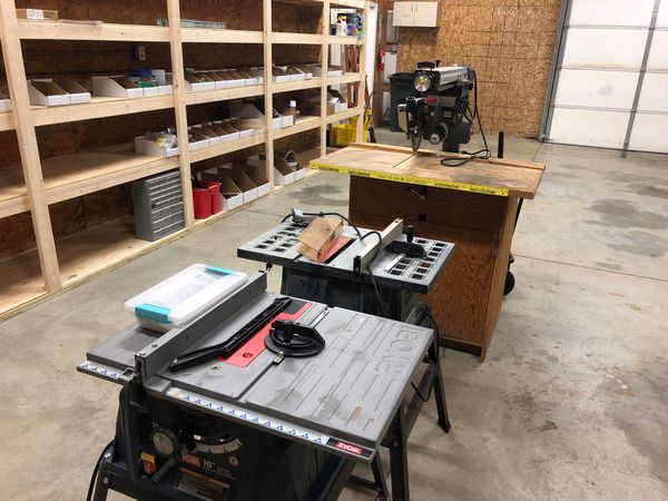 3 saws (Radial Arm and 2-Table Saws)