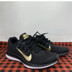 Nike Womens Zoom Winflo 5 Running Shoes Black Gold BV1253-001 Low Top Sneakers 6 for Sale in Peoria Heights, IL