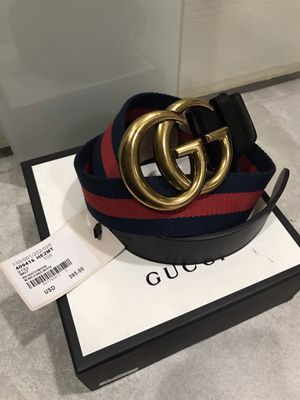 Gucci Blue Webbed Brass Gg Belt (Buy Now & Get A Free Pair Of Gucci Socks!) for Sale in Queens, NY