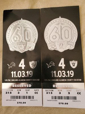 2 raiders game tickets for Sale in Oakland, CA