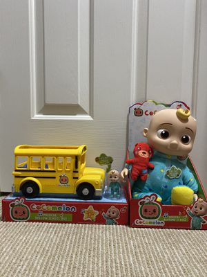 """NEW SET of COCOMELON Toys JJ Doll Soft 10"""" Plush AND Musical School Bus Youtube for Sale in Fremont, CA"""