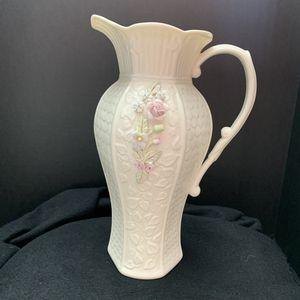 Vintage Belleek Millennium Collection Pitcher Vase w/Raised Flowers 48oz for Sale in Alexandria, VA