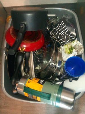 Large bin of kitchen appliances for Sale in Glendale, CO