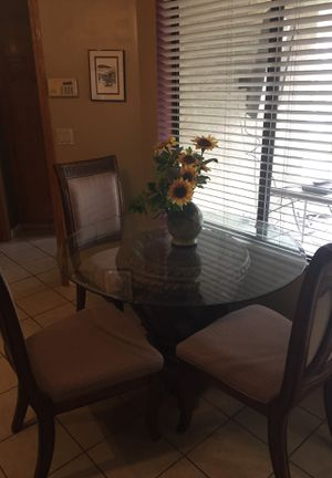 Beveled glass table four chairs for Sale in Bakersfield, CA