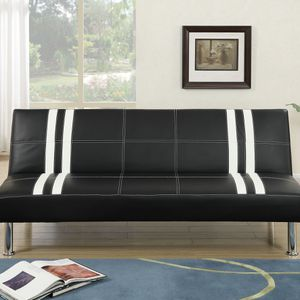 Black Faux Leather Futon Ajustable Sofa Bed for Sale in Los Angeles, CA