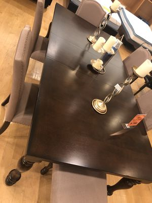 Dark Brown Wood Expandable Dining Table Set with 6 Chairs for Sale in Dallas, TX