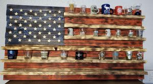 Wooden American flag/ shot glass holder for Sale in Albuquerque, NM