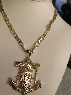 READ THE POST BEFORE ANCHOR WITH SAN JUDITAS AND THICK CHAIN PLATED IN ITALIAN LAMINATED GOLD GUARANTEED $ 35 PICK UP ONLY PLEASE THE CHAIN IS 24 for Sale in Riverside, CA