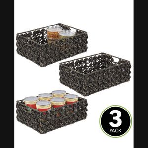 Brand New‼️ mDesign Woven Seagrass Kitchen Cabinet Pantry Storage Organizer Basket Bin with Handles - Store Fruit, Snacks, Cereal, Oil and Vinegar, B for Sale in Fountain Valley, CA