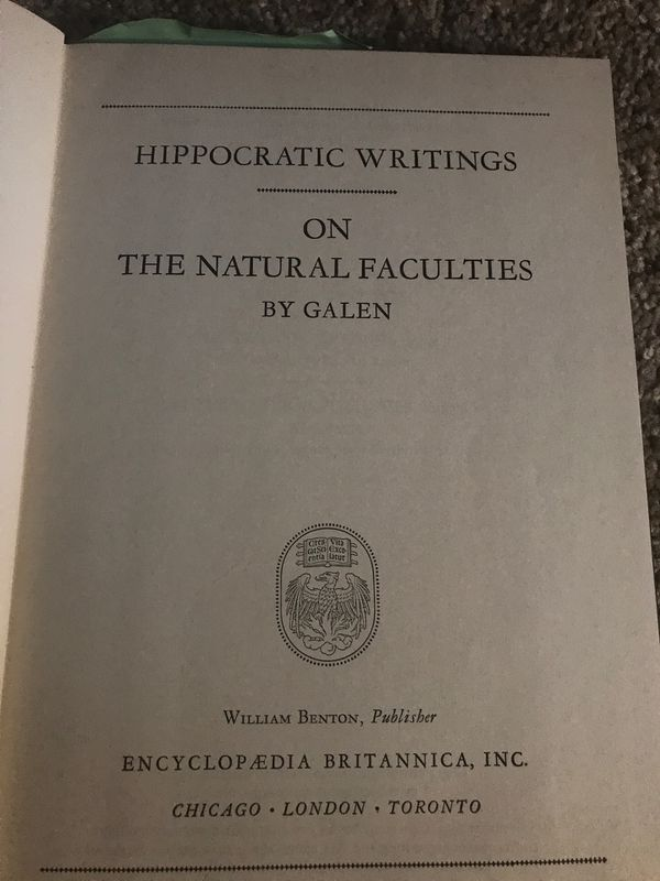 Britannica great books of the western 1952 antique world Hippocrates Galen (encyclopedia Britannica)