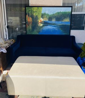 Modern Royal Blue Velvet Sofa with Ottoman & picture for Sale in Las Vegas, NV