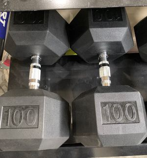 New Pair of Rubber Hex 100lb Dumbbells for Sale in Des Moines, WA