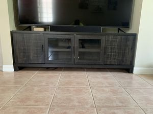 TV Stand with Storage - Weathered Pine for Sale in Pompano Beach, FL