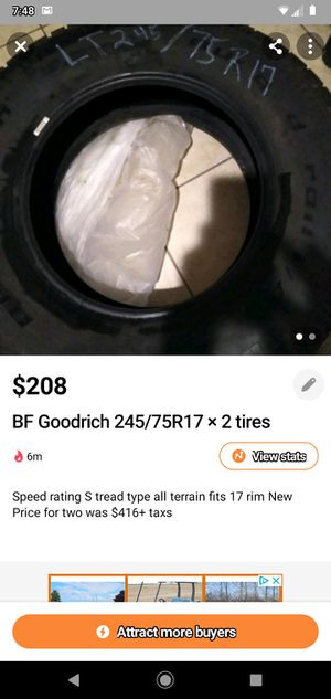 BF Goodrich245/75R17 for Sale in Grandview, MO