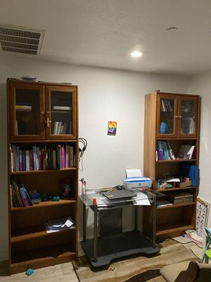 Matching bookshelves $70 and desk no chair $20 for Sale in Lytle Creek, CA