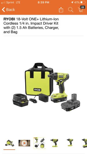 RYOBI 18-Volt ONE+ Lithium-Ion Cordless 1/4 in. Impact Driver Kit with (2) 1.5 Ah Batteries, Charger, and Bag for Sale in Pomona, CA