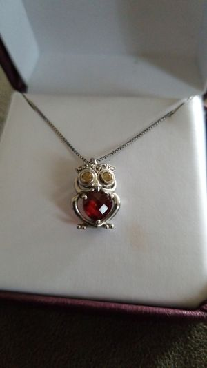 Helzberg Diamonds Garnet and Citrine Owl necklace for Sale in Golden, CO