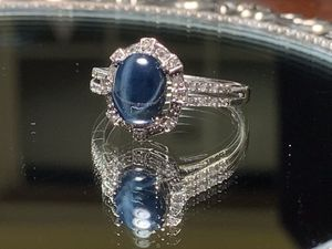 Beautiful 14K White Gold Blue Star Sapphire and Diamond Ring for Sale in Sterling, VA