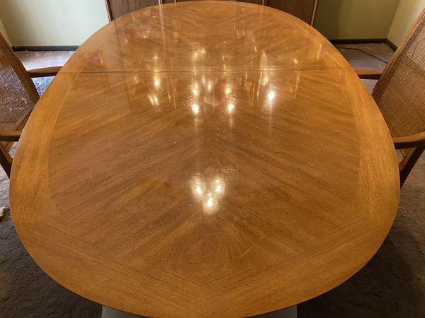 Dining Room Table Full Set With Cabinet And Leaf For Sale