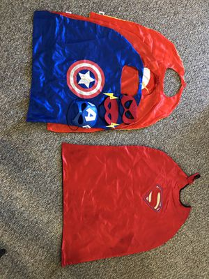 4 super hero capes and masks! One is reversible for Sale in San Diego, CA