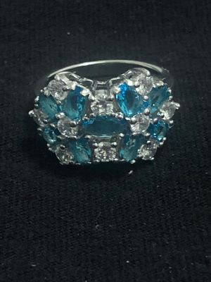 Sterling Silver Light Blue / Clear CZ ring for Sale in Las Vegas, NV