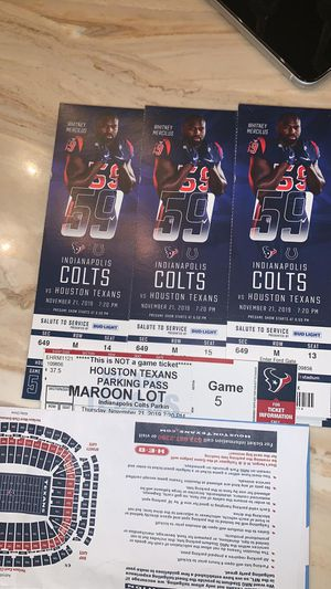 Texans vs colts 3 tickets with parking pass for Sale in Houston, TX
