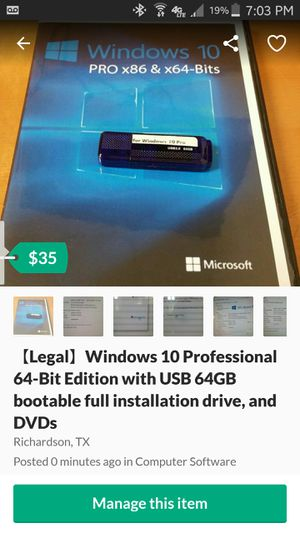 【Legal】Windows 10 Professional 64-Bit Edition 【latest version】with USB 64GB bootable full installation drive, and DVDs for Sale in Richardson, TX