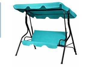 Patio 3 Seats Canopy Swing Glider Hammock Cushioned Steel Frame Backyard Blue for Sale in El Monte, CA